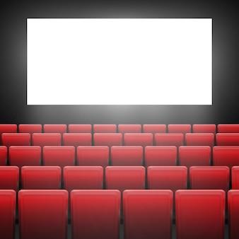 Pantalla de cine con asientos rojos. concepto gráfico para su diseño. diseño de póster de estreno de cine con pantalla en blanco.