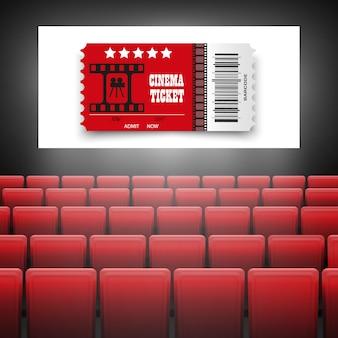 Pantalla de cine con asientos rojos. concepto gráfico para su diseño de póster de estreno de cine de película con pantalla en blanco.
