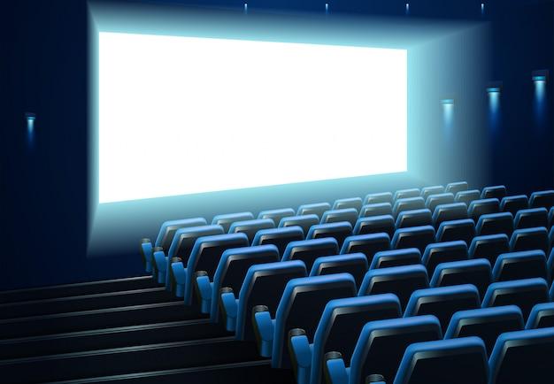 Pantalla de cine en público azul.