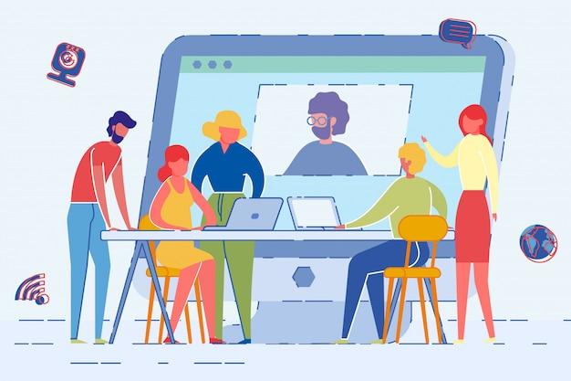 Pantalla de la computadora con el hombre usando web cam en reunión.