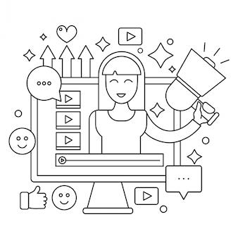 Pantalla de computadora con la ilustración femenina del blogger de la mujer.
