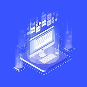 Pantalla de computadora, teclado, mouse pad y lenguajes de programación. desarrollo de aplicaciones o software web, codificación de programas de internet