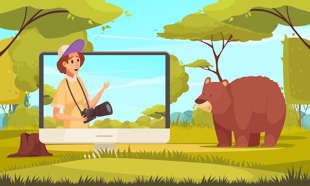 Pantalla de computadora con video blogger de viajes oso pardo y dibujos animados de bosque