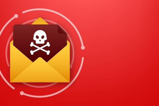 Pantalla de computadora de virus de correo electrónico rojo