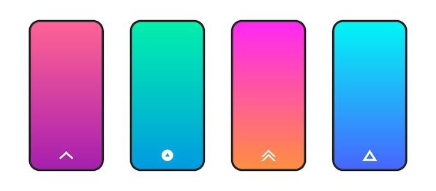 Pantalla de degradado colorido del teléfono, con deslizar hacia arriba el icono de flechas. estilo plano moderno