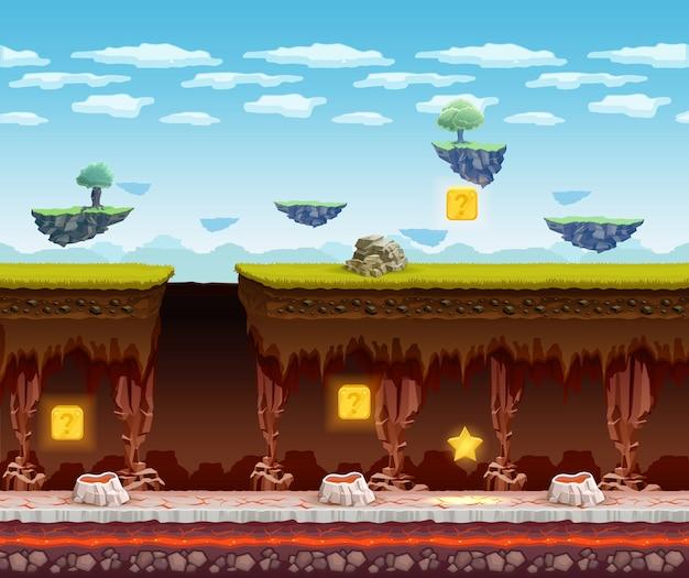 Pantalla de dibujos animados de piso subterráneo juego electrónico