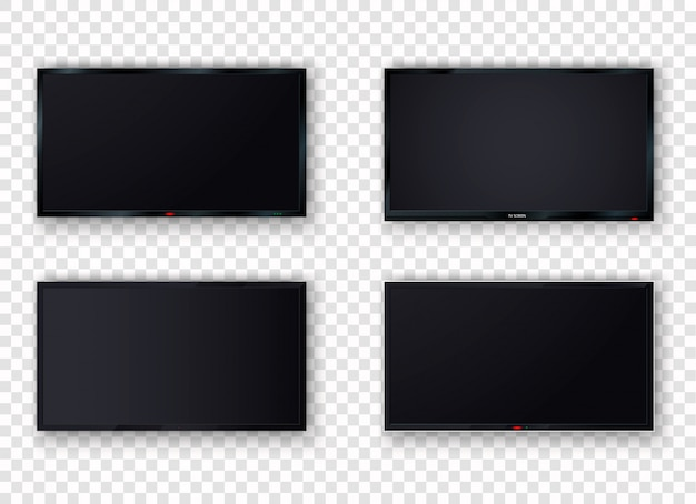 Pantalla digital de tv lcd en blanco moderno, pantalla, panel. aislante de plasma de tv sobre un fondo blanco. monitor de computadora grande.