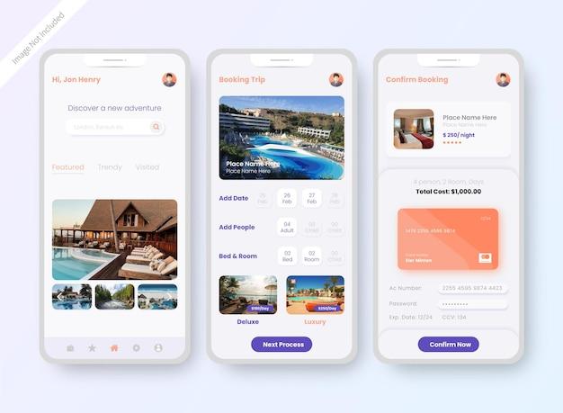 Pantalla de diseño de interfaz de usuario de la aplicación de reserva de hotel