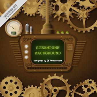 Pantalla en diseño steampunk