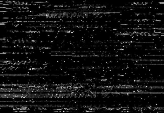 Pantalla de distorsión de falla, efecto de falla de video vhs con líneas y ruido, fondo vectorial. píxeles de tv en televisión de pantalla digital, computadora o distorsión de señal vhs con efecto de falla