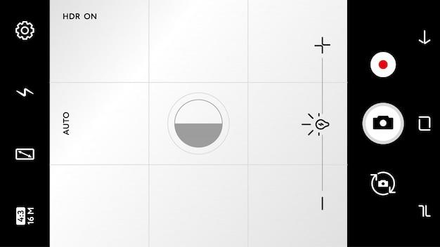 Pantalla de enfoque de cámara moderna con ajustes