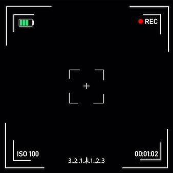 Pantalla de enfoque de cámara de video digital con ajustes.