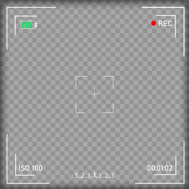 Pantalla de enfoque de cámara de video digital con ajustes. Vector Premium
