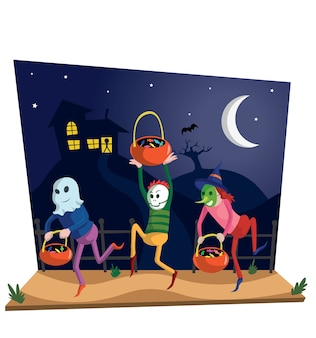 Pantalla de escena con niños celebrando halloween