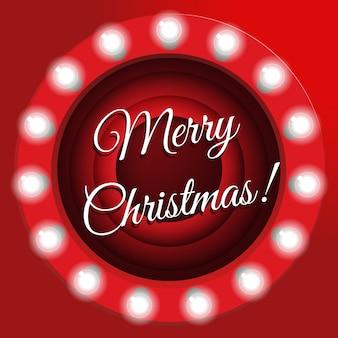 Pantalla de finalización de película, ilustración. banner de navidad con bombillas. feliz tarjeta de saludos acebo.