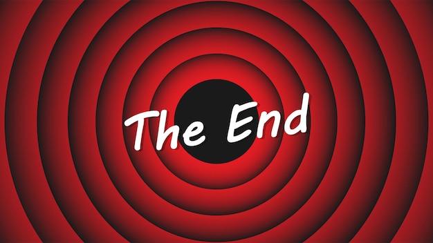 Pantalla de finalización de película. inscripción the end en el fondo de círculos rojos. finalizar la pantalla de dibujos animados. ilustración vectorial eps 10
