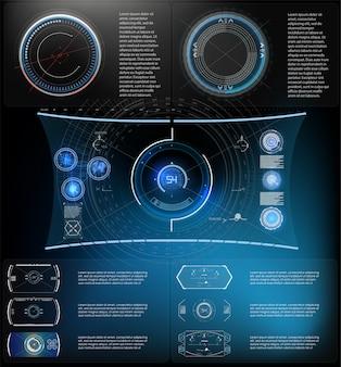Pantalla hud de tecnología futurista. vista táctica sci-fi vr dislpay. hud ui. diseño de pantalla de visualización de realidad virtual futurista. pantalla de tecnología de realidad virtual.