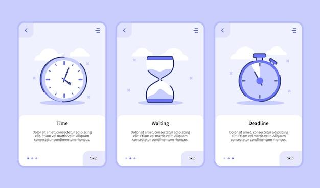 Pantalla de incorporación de fecha límite de tiempo de espera para la interfaz de usuario de la página de banner de plantilla de aplicaciones móviles con tres variaciones de estilo de contorno plano moderno