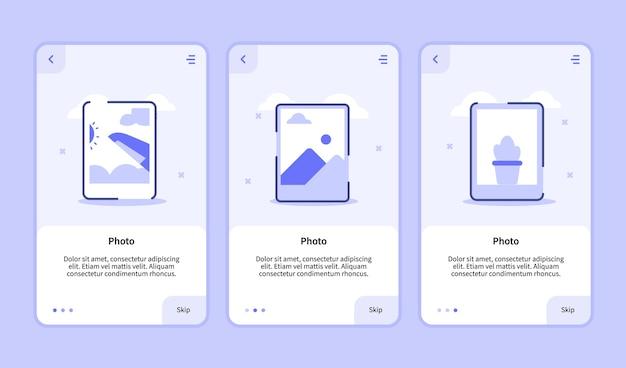 Pantalla de incorporación de fotos para la interfaz de usuario de la página de banner de la plantilla de aplicaciones móviles