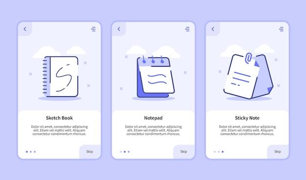 Pantalla de incorporación de notas adhesivas del bloc de notas del cuaderno de bocetos para aplicaciones móviles