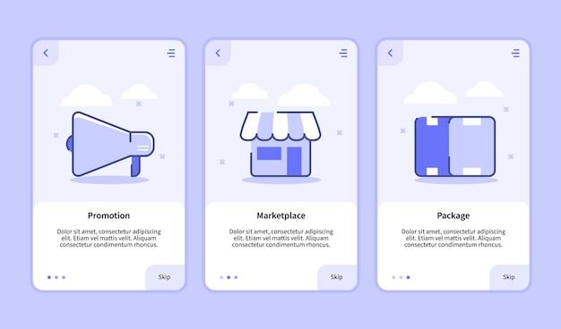 Pantalla de incorporación del paquete de mercado de promoción para la plantilla de aplicaciones móviles
