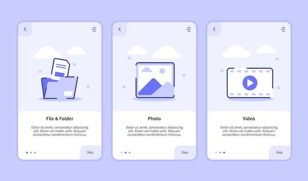 Pantalla de incorporación de video de foto de archivo y carpeta para la interfaz de usuario de la página de banner de la plantilla de aplicaciones móviles