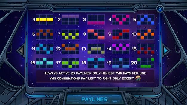Pantalla de información para el juego de tragamonedas