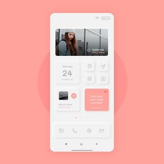 Pantalla de inicio realista de neumorph para smartphone