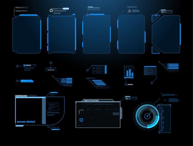 Pantalla de interfaz futurista de hud. títulos de llamadas digitales.