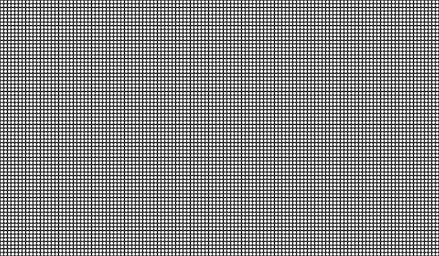 Pantalla led. monitor lcd. fondo de tv con puntos. pantalla digital. videowall de televisión en blanco y negro. textura de píxeles. efecto de diodo electrónico. plantilla de rejilla de proyector con bombillas. ilustración vectorial.