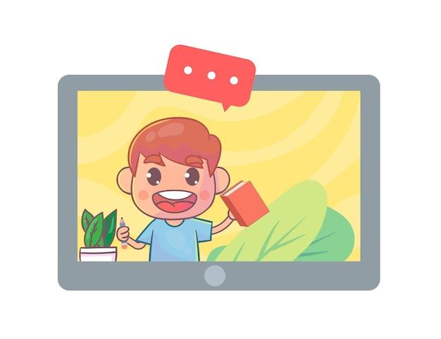 Pantalla en línea de chat de video para estudiantes en la pantalla de la tableta