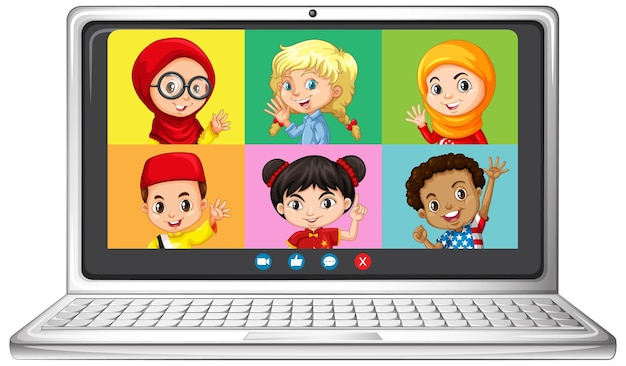 Pantalla en línea de video chat de estudiante en portátil sobre fondo blanco.