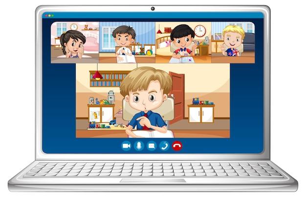 Pantalla en línea de video chat de estudiante en portátil