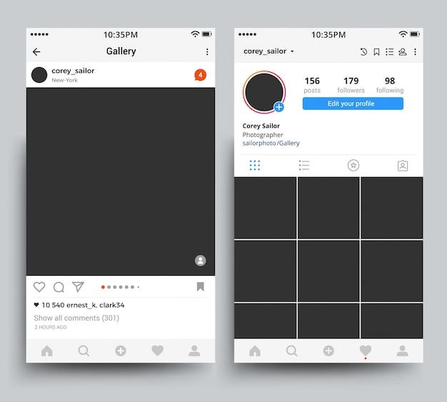 Pantalla de marcos de fotos para smartphone de aplicación móvil inspirada en la plantilla de instagram.