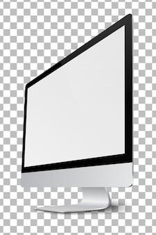Pantalla de monitor de computadora moderna con pantalla en blanco.