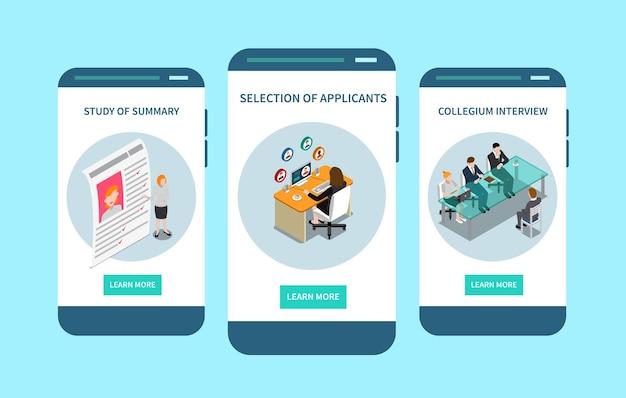 Pantalla móvil isométrica de las mejores aplicaciones de reclutamiento con selección de solicitantes entrevistando a candidatos para el empleo