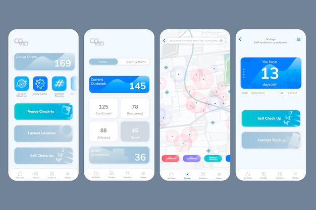 Pantalla móvil de maqueta de la aplicación de interfaz de usuario covid-19
