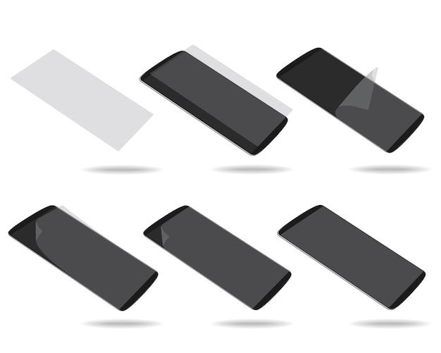 La pantalla negra de los teléfonos inteligentes con vidrio protector establece diferentes escorzos
