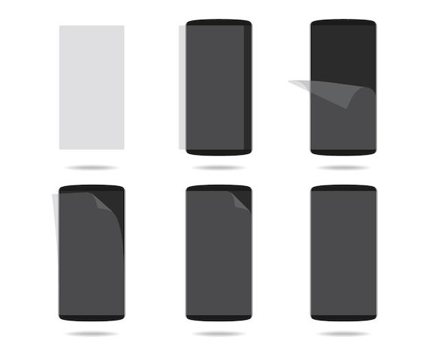 La pantalla negra de los teléfonos inteligentes con vidrio protector establece diferentes pasos