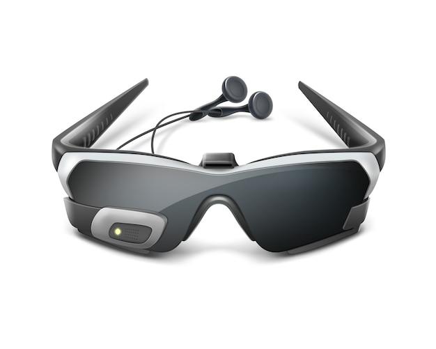 Pantalla óptica montada en la cabeza o gafas de realidad virtual con auriculares vista frontal