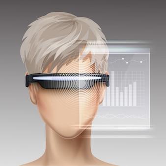Pantalla óptica montada en la cabeza o gafas de realidad virtual en un maniquí sin rostro con interfaz de pantalla táctil holográfica futurista vista frontal