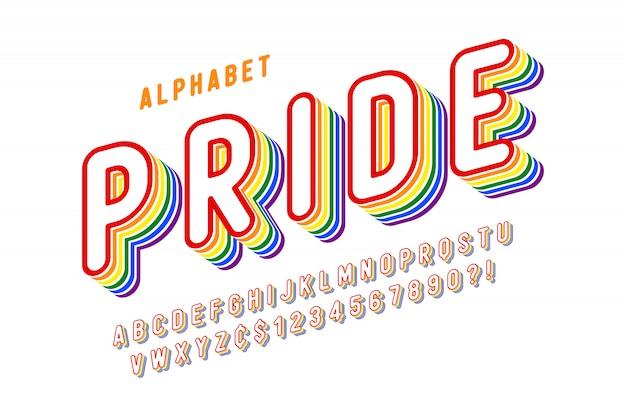 Pantalla original diseño de fuente del arco iris, alfabeto, letras