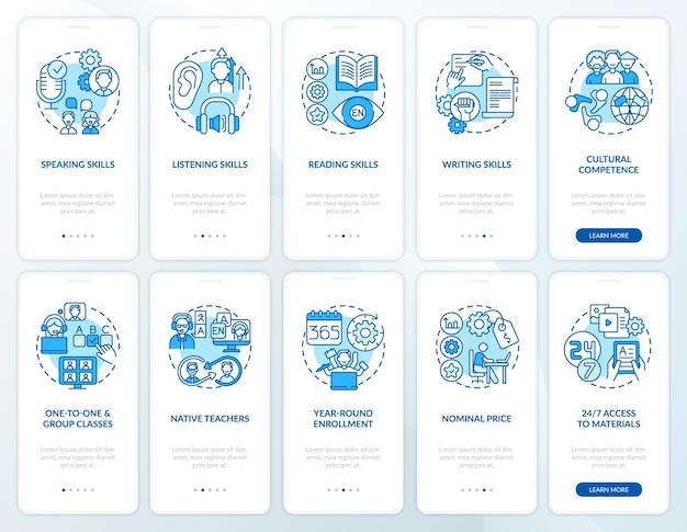 Pantalla de la página de la aplicación móvil de incorporación de aprendizaje de idiomas con el conjunto de conceptos. pasos del tutorial de cursos de estudio de inglés en línea. ilustraciones de plantilla de interfaz de usuario