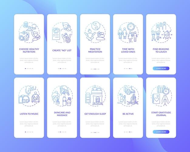 Pantalla de la página de la aplicación móvil de incorporación de autocuidado con conjunto de conceptos