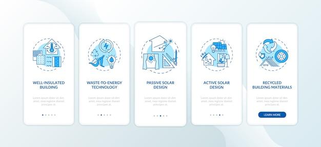 Pantalla de página de aplicación móvil de incorporación azul de arquitectura sostenible con conceptos.