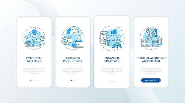 Pantalla de la página de la aplicación móvil de incorporación azul del entorno interior con conceptos.