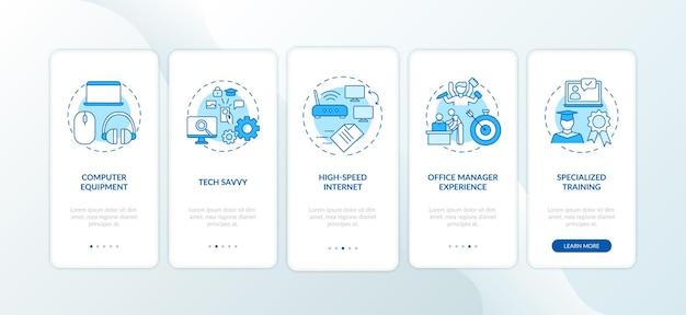 Pantalla de la página de la aplicación móvil de incorporación azul de habilidades de los empleados