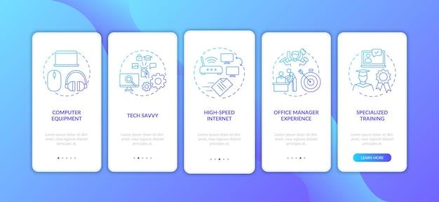 Pantalla de la página de la aplicación móvil de incorporación azul oscuro de habilidades de los empleados con conceptos