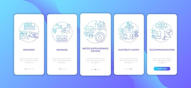 Pantalla de página de la aplicación móvil de incorporación azul oscuro de suministro de recursos urbanos con ilustraciones de conceptos