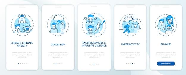 Pantalla de la página de la aplicación móvil de incorporación azul de psicología del autocontrol con conceptos